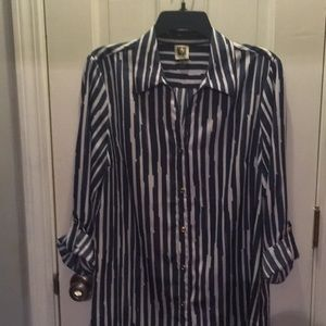 Blue and white Anne Klein blouse